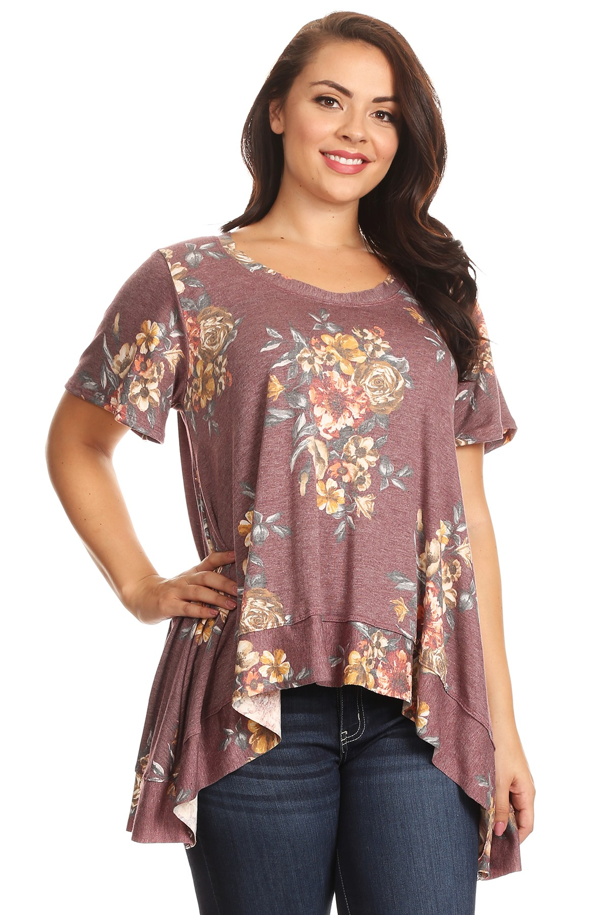DESERE TUNIC IN BURGUNDY FLORAL