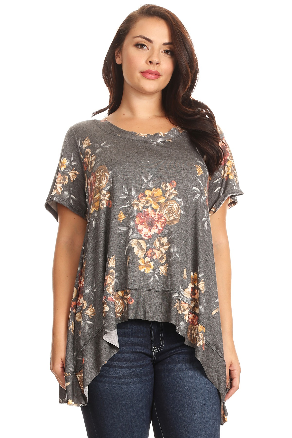 DESERE TUNIC IN GRAY FLORAL