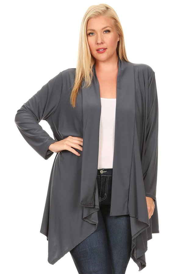 SHAWL OPEN CARDIGAN IN GRAY