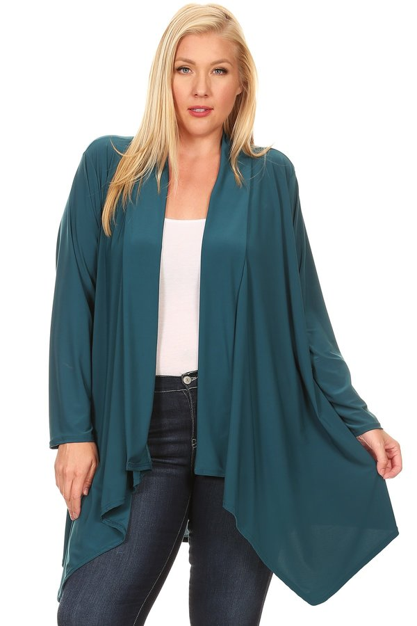 SHAWL OPEN CARDIGAN IN TEAL