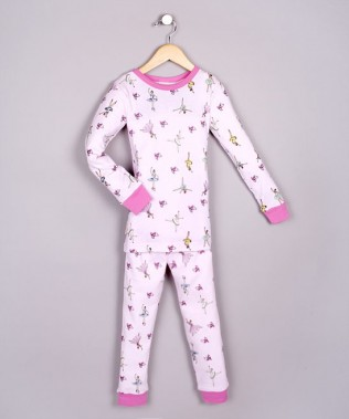 100% BABY RIBBED ORGANIC COTTON PAJAMAS - BALERINAS