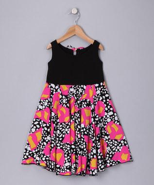 BLACK PINK SPOTS SPINING DRESS