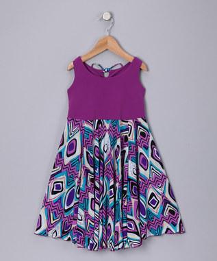 PURPLE JACQARD SPINING DRESS