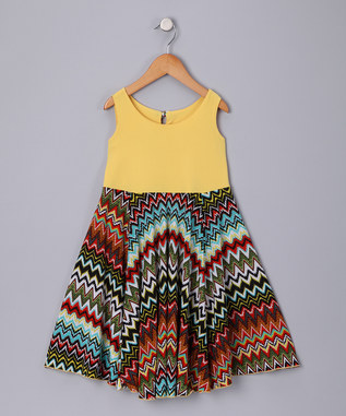 YELLOW ZIG ZAG SPINING DRESS