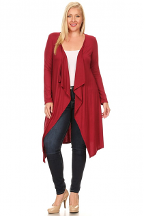 JASMINE OPEN CARDIGAN IN BURGUNDY