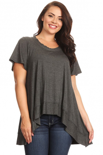 DESERE TUNIC IN DARK HEATHER GRAY