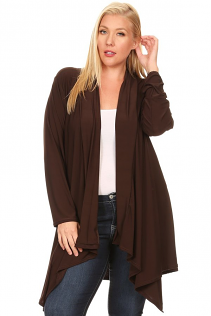 SHAWL OPEN CARDIGAN IN BROWN