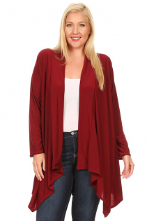 SHAWL OPEN CARDIGAN IN BURGUNDY