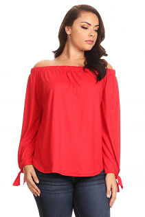 OFF SHOULDER TOP IN RED