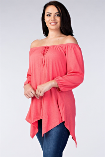 OFF SHOULDER TOP IN CORAL
