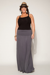 FOLD OVER  MAXI SKIRT IN GRAY