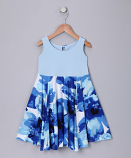 BLUE ABSTRACT SPINING DRESS