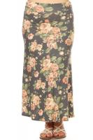 MAXI SKIRT IN GREY FLORAL